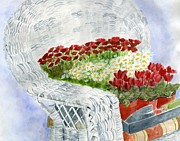 Wicker Chair Prints - White Wicker Garden Chair Print by Sheryl Heatherly Hawkins
