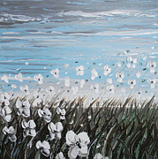 Artist Christine Krainock Prints - White Wildflower Breeze Print by Christine Krainock