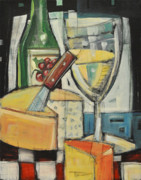 Bistro Paintings - White Wine And Cheese by Tim Nyberg