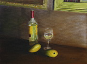 Mango Painting Originals - White Wine and Mangoes by Alan Mager