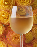 White Glass Posters - White wine and yellow roses Poster by Garry Gay