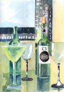 Wine-bottle Paintings - White Wine by Arline Wagner