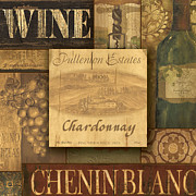 Winery Painting Posters - White Wine Collage Poster by Grace Pullen