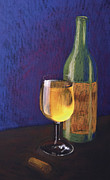 Wine Bottle Mixed Media Framed Prints - White wine Framed Print by Garry McMichael
