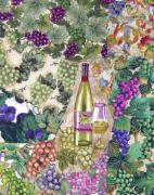Wine-glass Tapestries - Textiles Prints - White Wine Print by Loretta Alvarado
