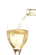 Wine Pouring Prints - White Wine Pouring Into A Glass Print by Ross Durant Photography