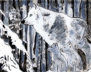 Cubs Painting Originals - White Wolf by Phil Strang