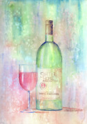 Wine-glass Posters - White Zinfandel Poster by Arline Wagner