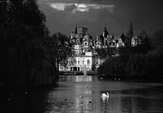 Pond In Park Prints - Whitehall from Saint James Park Print by Aldo Cervato