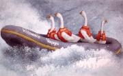 White Water Rafting Paintings - Whitewaddle... by Will Bullas