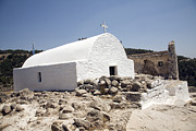Greece Photos . Photos - Whitewashed Greek orthodox church Kastrou Monolithos Rhodes Greece by Ian Murray