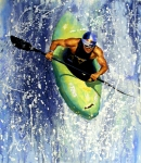 Action Sports Paintings - Whitewater Kayaker by Lynee Sapere