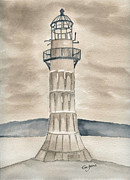 Lighthouse Sea Prints - Whitford Point lighthouse Print by Eva Ason