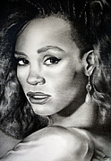 Entertainer Drawings Prints - Whitney Houston Print by Becky Ellis