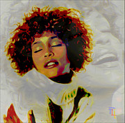 Celebrities Digital Art Framed Prints - Whitney Houston Framed Print by Byron Fli Walker