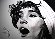 Star Spangled Banner Drawings - Whitney Houston Star Spangled Banner by Denzel  Seals