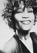 Portrait Artist Prints - Whitney Houston Print by Steve Hunter
