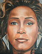 Portraits By Timothe Framed Prints - Whitney Houston Framed Print by Timothe Winstead