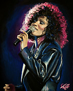 Pop Singer Framed Prints - Whitney Houston Framed Print by Tom Carlton