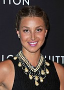 Pink Lipstick Framed Prints - Whitney Port Wearing An Erickson Beamon Framed Print by Everett