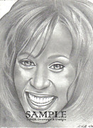 Album Covers Drawings - Whitney by Rick Hill