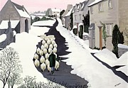 Village Prints - Whittington in winter Print by Maggie Rowe