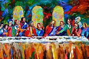 Last Supper Painting Framed Prints - Who Among Us Framed Print by Debra Hurd