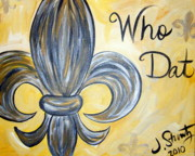 Saints Framed Prints - Who Dat Framed Print by Jessica Stuntz