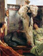 Lounge Painting Prints - Who Is It Print by Sir Lawrence Alma-Tadema