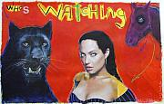 Leopard Pastels Posters - Who is watching who Poster by Mike  Mitch