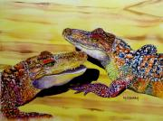 Alligator Paintings - Who Loves Ya Baby by Maria Barry
