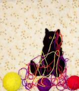 Cats Tapestries - Textiles Prints - Who Me Print by Loretta Alvarado
