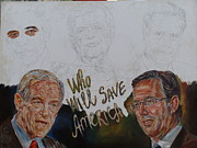 Mitt Paintings - Who Will Save America Painting In Process  by Alex Krasky