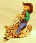 Cowboy Sculpture Posters - Whoa Horsey Poster by Russell Ellingsworth