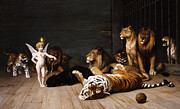 Lion Painting Prints - Whoever you are Here is your Master Print by Jean Leon Gerome