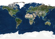 Planet Map Prints - Whole Earth, Satellite Image Print by Planetobserver