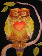 Colorful Owl Paintings - Whooo Loves You by Lou Cicardo