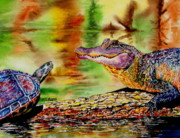 Alligator Paintings - Whos for Lunch by Maria Barry