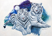Wild Cats Paintings - Whte Tigers by Sherry Shipley