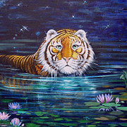 The Tiger Painting Framed Prints - Why 3 Framed Print by Silvia  Duran