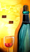 Wine Bottle Paintings - Why Is The Cork There? by D Jackson