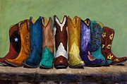 Cowgirls Paintings - Why Real Men Want to be Cowboys by Frances Marino