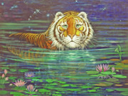 The Tiger Painting Framed Prints - Why Framed Print by Silvia  Duran