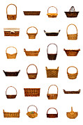 White Wicker Posters - Wicker Basket Collection Poster by Olivier Le Queinec