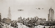 Bi Planes Framed Prints - Wide Angle Panorama With Two Airplanes Framed Print by Everett