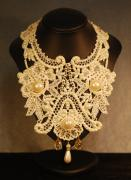 Shadow Jewelry - Wide Cream Lace Collar Necklace by Janine Antulov