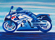 Motorcycle Painting Posters - Wide Open Poster by Brian  Commerford