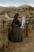 19th Century Cemetery Posters - Widow at the Cemetery Poster by Jill Battaglia