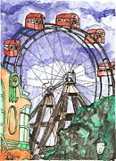Wheel Drawings - Wiener Prater Ferris Wheel by Brian Reynolds
