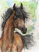 Horse Drawing Originals - Wieza Wiatrow polish arabian mare watercolor painting  by Angel  Tarantella